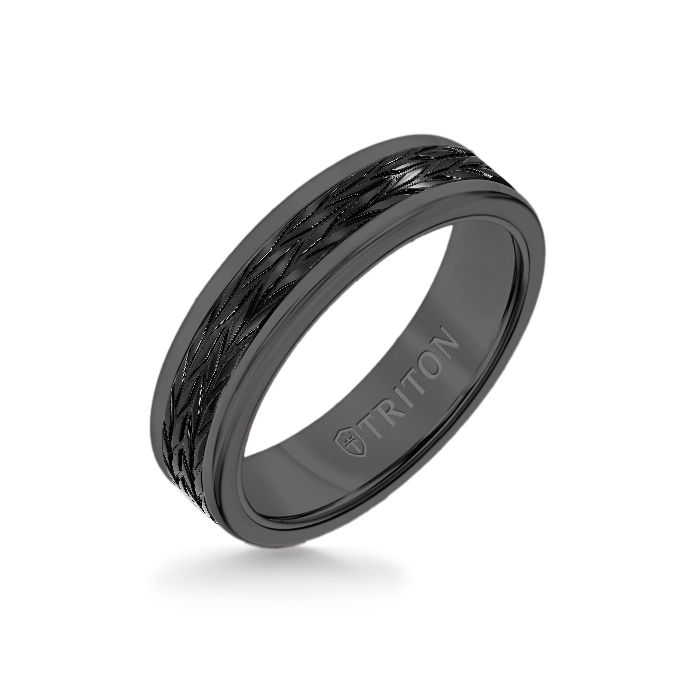 6MM Black Tungsten Carbide Ring - Tire Tread Black Titanium Insert with Round Edge