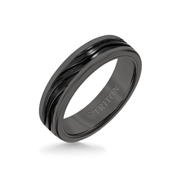 6MM Black Tungsten Carbide Ring - Wave Black Titanium Insert with Round Edge