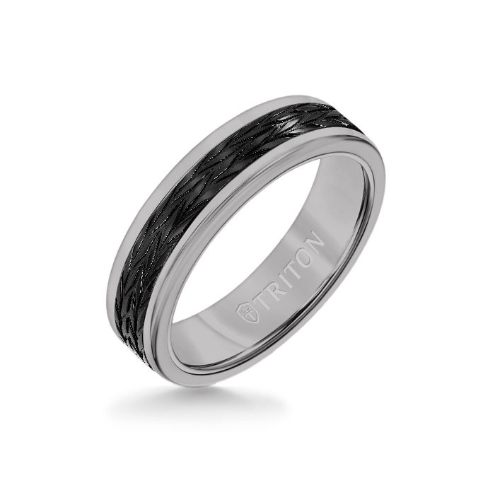 6MM Grey Tungsten Carbide Ring - Tire Tread Black Titanium Insert with Round Edge