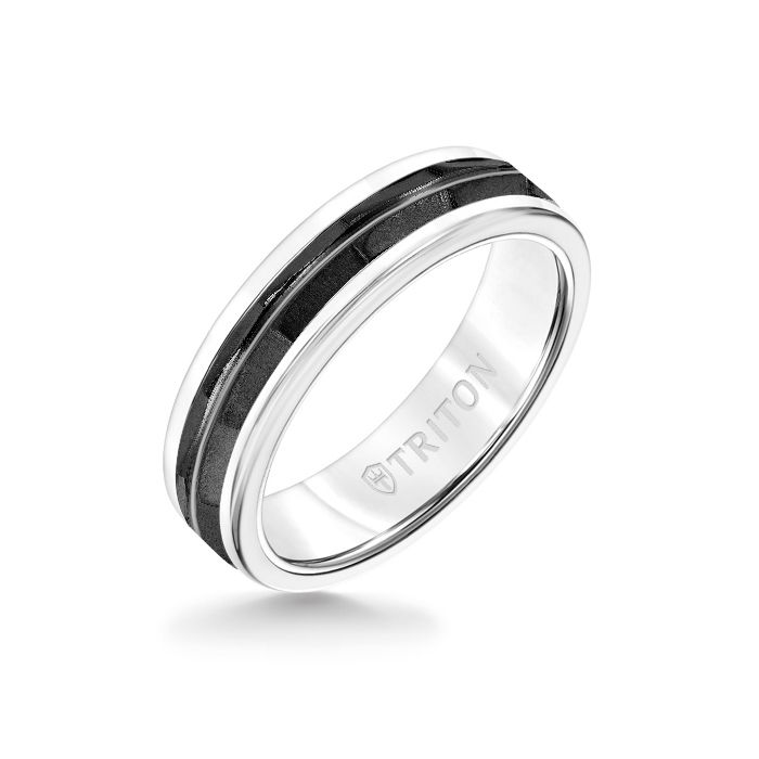 6MM White Tungsten Carbide Ring - Chevron Black Titanium Insert with Round Edge