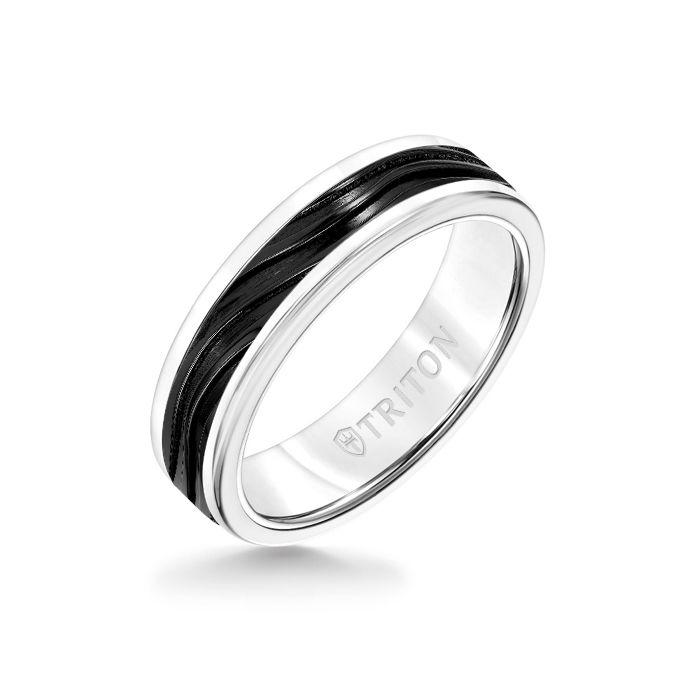 6MM White Tungsten Carbide Ring - Wave Black Titanium Insert with Round Edge
