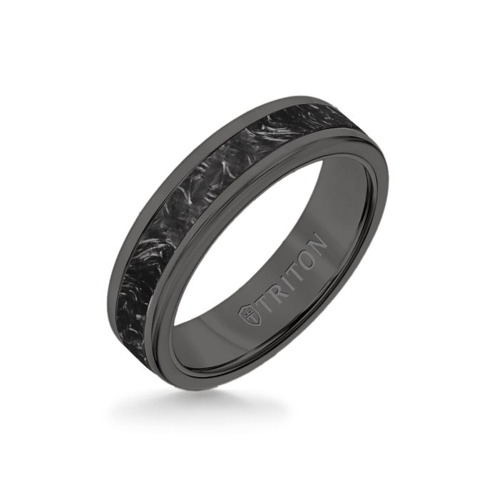 6MM Black Tungsten Carbide Ring - Forged Carbon Flat Insert with Round Edge