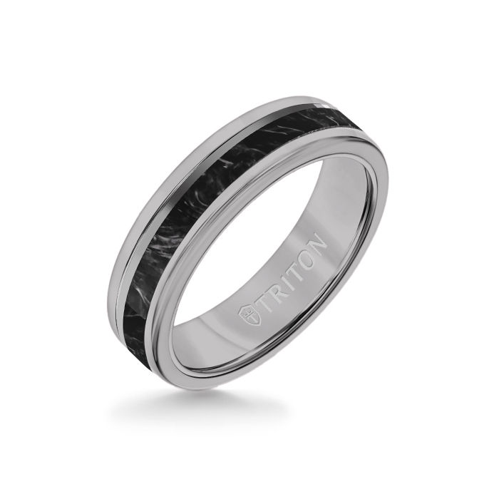 6MM Gray Tungsten Carbide Ring - Forged Carbon and Titanium Off Center Insert with Round Edge