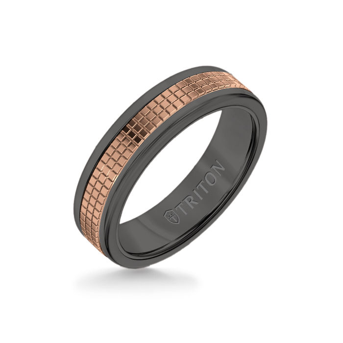 6MM Black Tungsten Carbide Ring – Cubed 14K Rose Gold Insert with Round Edge