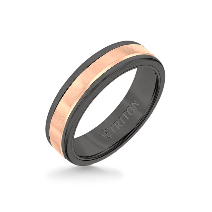 6MM Black Tungsten Carbide Ring - Linear 14K Rose Gold Insert with Round Edge