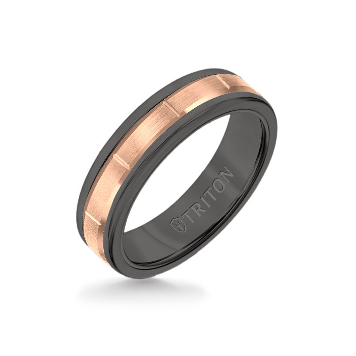 6MM Black Tungsten Carbide Ring - Vertical Cut 14K Rose Gold Insert with Round Edge