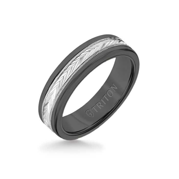 6MM Black Tungsten Carbide Ring - Herringbone 14K White Gold Insert with Round Edge