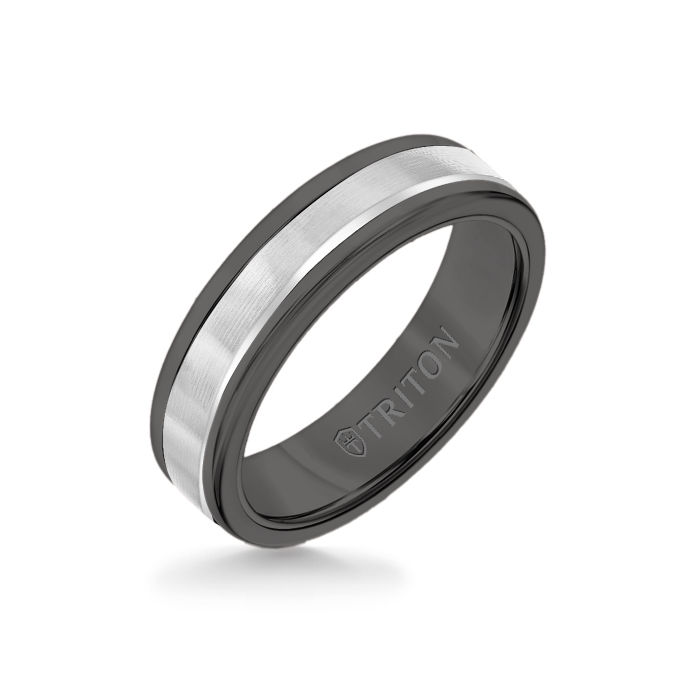 6MM Black Tungsten Carbide Ring - Linear 14K White Gold Insert with Round Edge