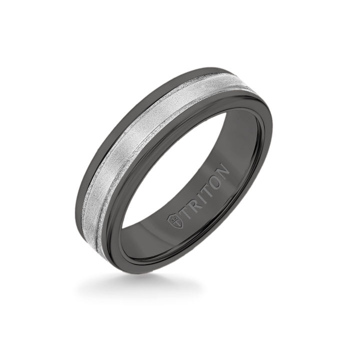 6MM Black Tungsten Carbide Ring - Step Edge 14K White Gold Insert with Round Edge