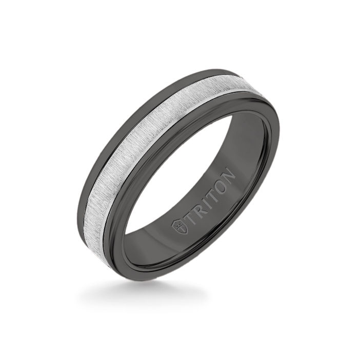 6MM Black Tungsten Carbide Ring - Vertical Satin 14K White Gold Insert with Round Edge