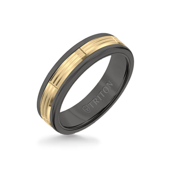 6MM Black Tungsten Carbide Ring - Serrated Vertical Cut 14K Yellow Gold Insert with Round Edge