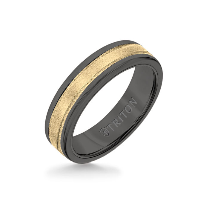 6MM Black Tungsten Carbide Ring - Step Edge 14K Yellow Gold Insert with Round Edge