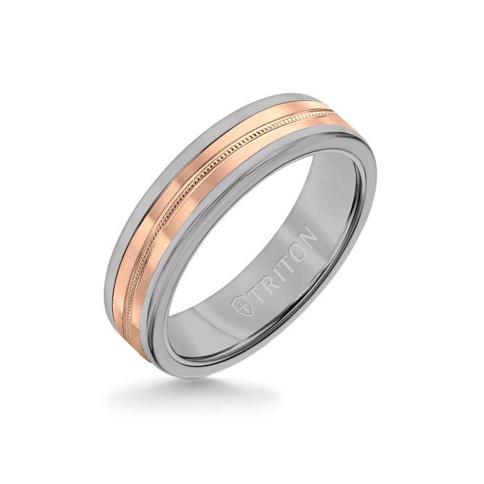 6MM Grey Tungsten Carbide Ring - Center Milgrain 14K Rose Gold Insert with Round Edge