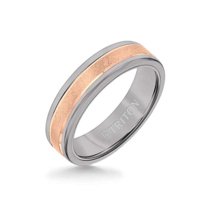 6MM Grey Tungsten Carbide Ring - Crystalline 14K Rose Gold Insert with Round Edge