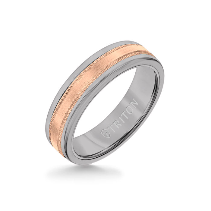 6MM Grey Tungsten Carbide Ring - Flat Milgrain 14K Rose Gold Insert with Round Edge