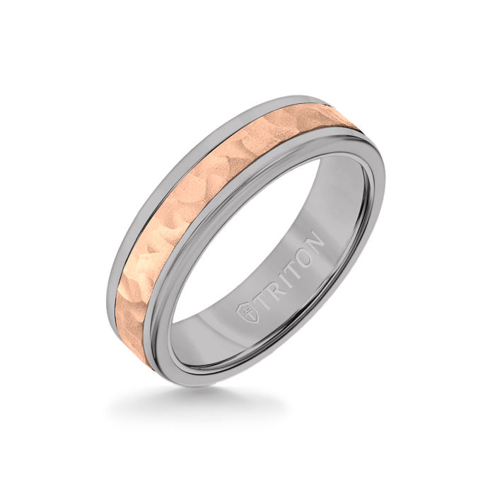 6MM Grey Tungsten Carbide Ring - Hammered 14K Rose Gold Insert with Round Edge