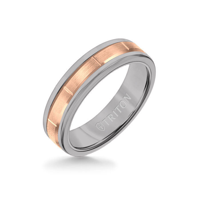 6MM Grey Tungsten Carbide Ring - Vertical Cut 14K Rose Gold insert with Round Edge