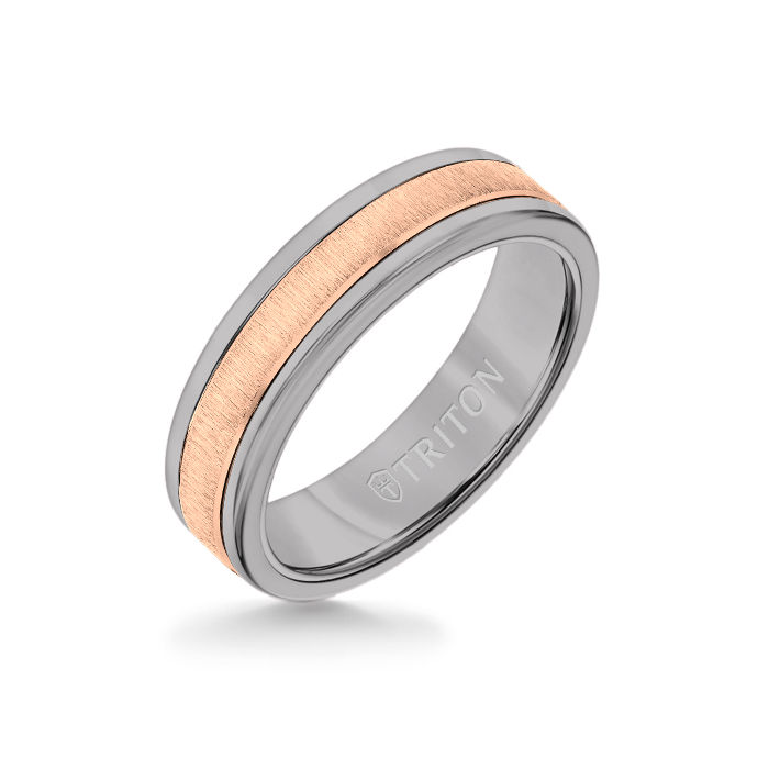 6MM Grey Tungsten Carbide Ring - Vertical Satin 14K Rose Gold Insert with Round Edge