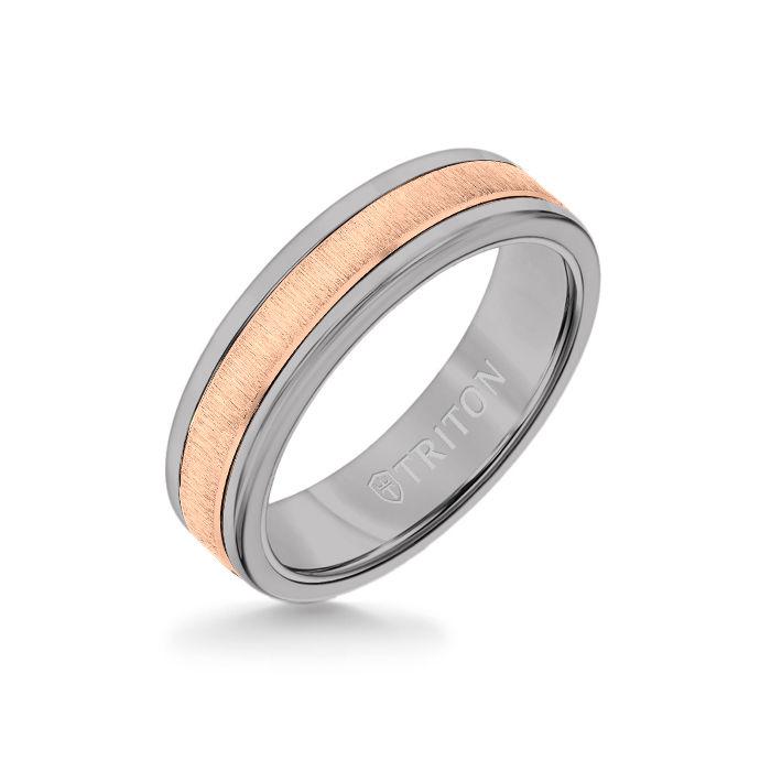 6MM Grey Tungsten Carbide Ring - Vertical Satin 14K Rose Gold Insert with Round Edge