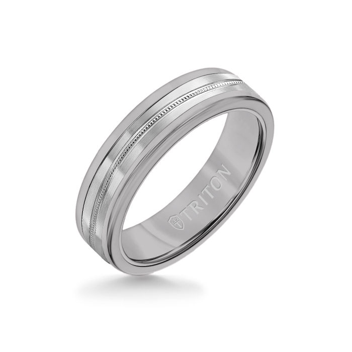6MM Grey Tungsten Carbide Ring - Center Milgrain 14K White Gold Insert with Round Edge