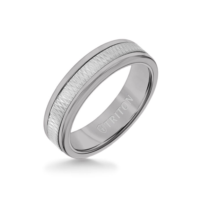 6MM Grey Tungsten Carbide Ring - Criss Cross 14K White Gold Insert with Round Edge