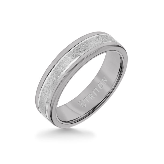 6MM Grey Tungsten Carbide Ring - Crystalline 14K White Gold Insert with Round Edge