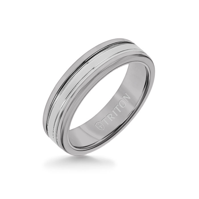 6MM Grey Tungsten Carbide Ring - Double Engraved 14K White Gold Insert with Round Edge