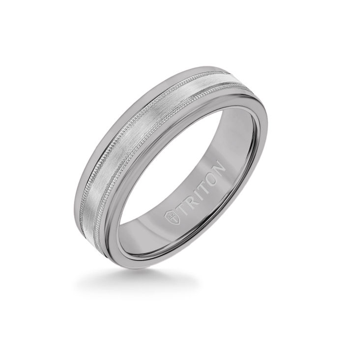 6MM Grey Tungsten Carbide Ring - Flat Milgrain 14K White Gold Insert with Round Edge