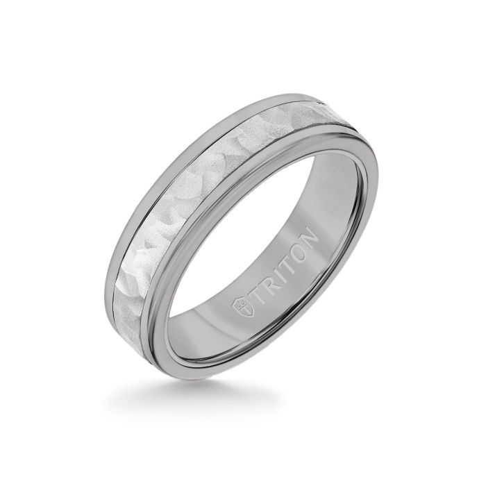 6MM Grey Tungsten Carbide Ring - Hammered 14K White Gold Insert with Round Edge