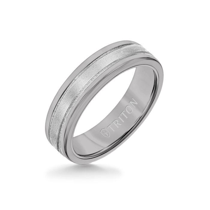 6MM Grey Tungsten Carbide Ring - Step Edge 14K White Gold Insert with Round Edge