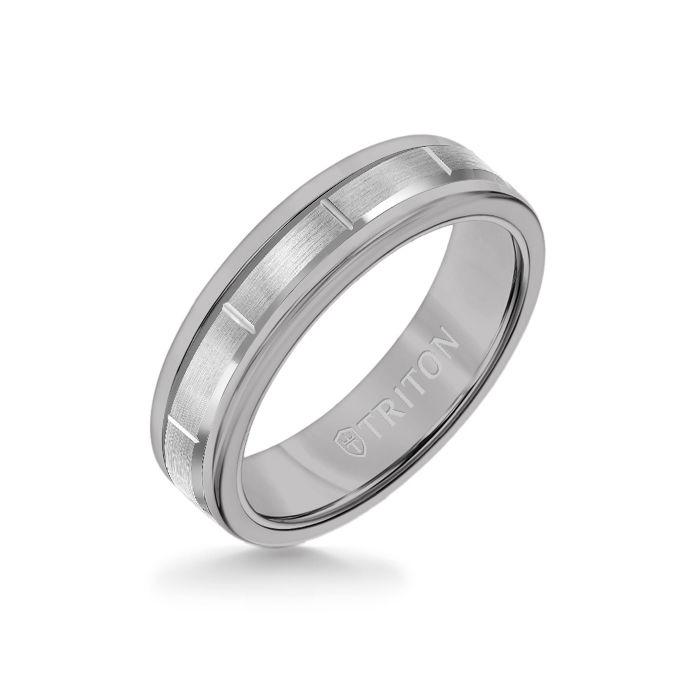 6MM Grey Tungsten Carbide Ring - Vertical Cut 14K White Gold insert with Round Edge