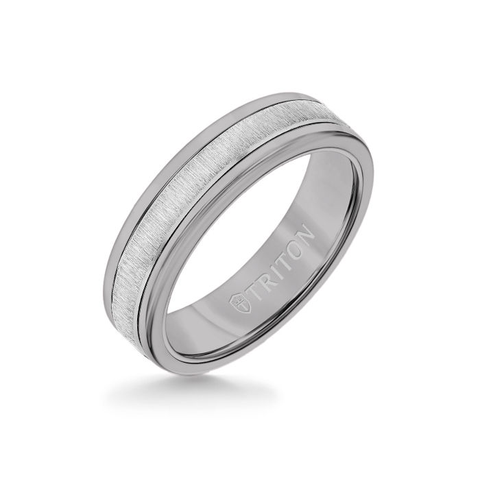 6MM Grey Tungsten Carbide Ring - Vertical Satin 14K White Gold Insert with Round Edge