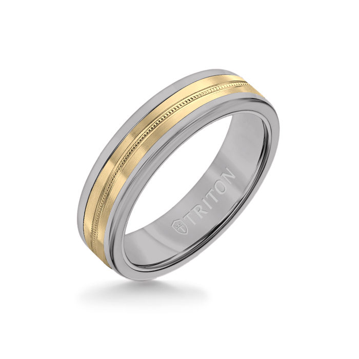 6MM Grey Tungsten Carbide Ring - Center Milgrain 14K Yellow Gold Insert with Round Edge