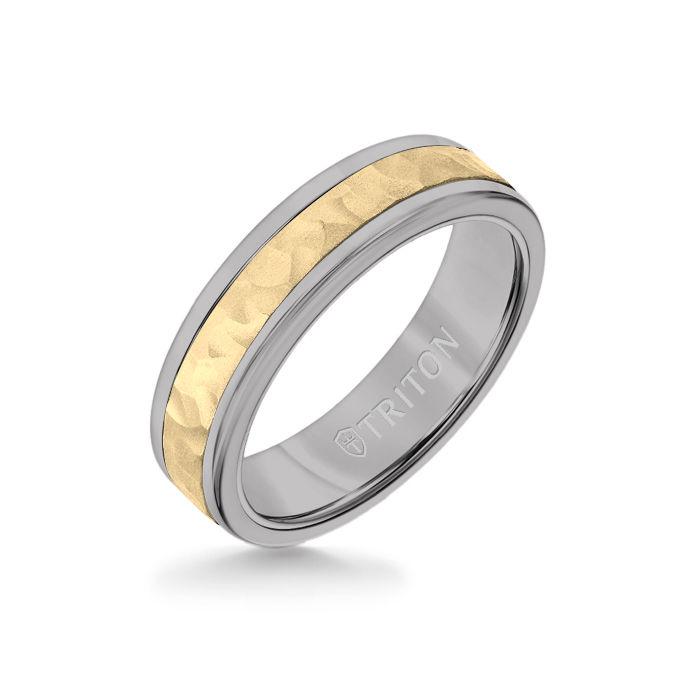 6MM Grey Tungsten Carbide Ring - Hammered 14K Yellow Gold Insert with Round Edge