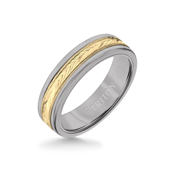6MM Grey Tungsten Carbide Ring - Herringbone 14K Yellow Gold Insert with Round Edge