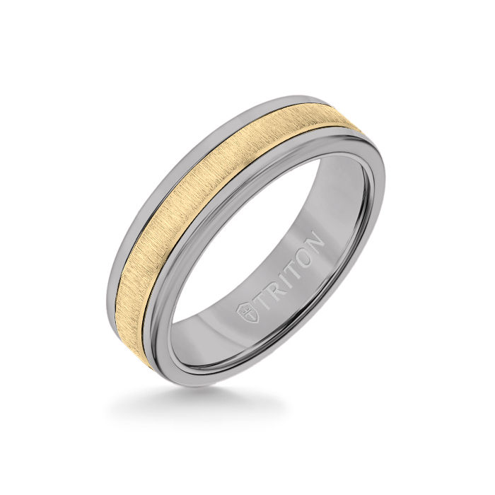 6MM Grey Tungsten Carbide Ring - Vertical Satin 14K Yellow Gold Insert with Round Edge