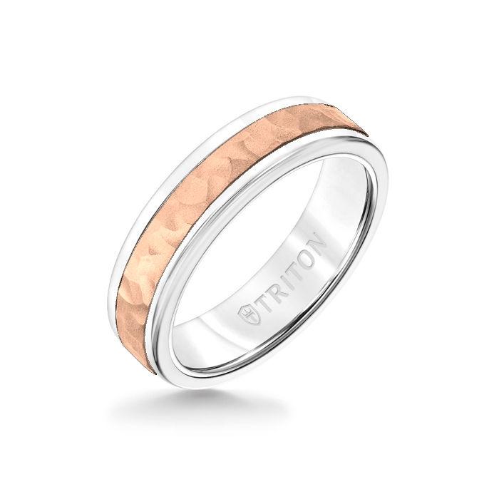 6MM White Tungsten Carbide Ring - Hammered 14K Rose Gold Insert with Round Edge