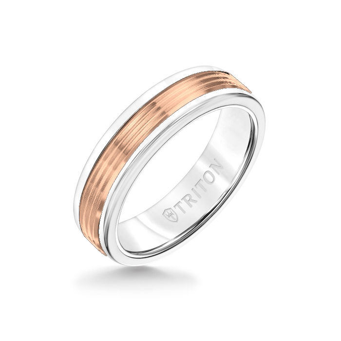 6MM White Tungsten Carbide Ring - Serrated Engraved 14K Rose Gold Insert with Round Edge