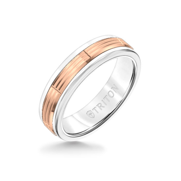 6MM White Tungsten Carbide Ring - Serrated Vertical Cut 14K Rose Gold Insert with Round Edge
