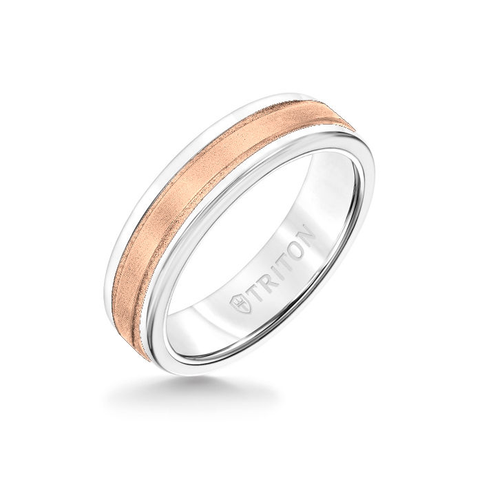 6MM White Tungsten Carbide Ring - Step Edge 14K Rose Gold Insert with Round Edge