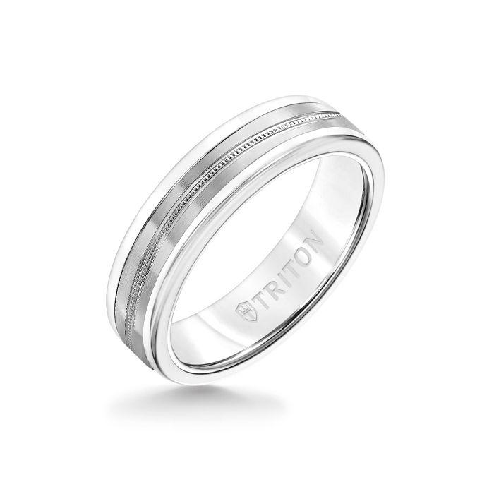 6MM White Tungsten Carbide Ring - Center Milgrain 14K White Gold Insert with Round Edge