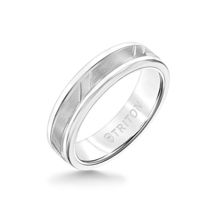 6MM White Tungsten Carbide Ring - Bevel Diagonal Cut 14K White Gold Insert with Round Edge