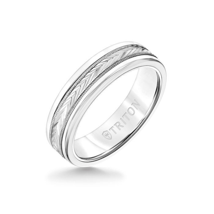 6MM White Tungsten Carbide Ring - Herringbone 14K White Gold Insert with Round Edge