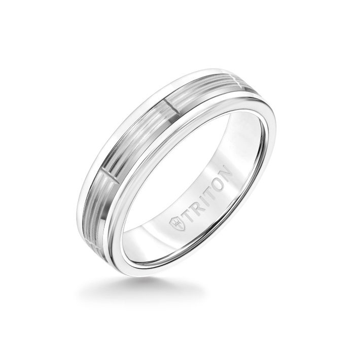 6MM White Tungsten Carbide Ring - Serrated Vertical Cut 14K White Gold Insert with Round Edge