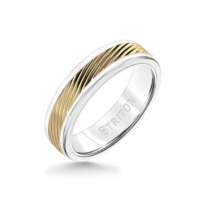 6MM White Tungsten Carbide Ring – 3D Wave 14K Yellow Gold  Insert with Round Edge