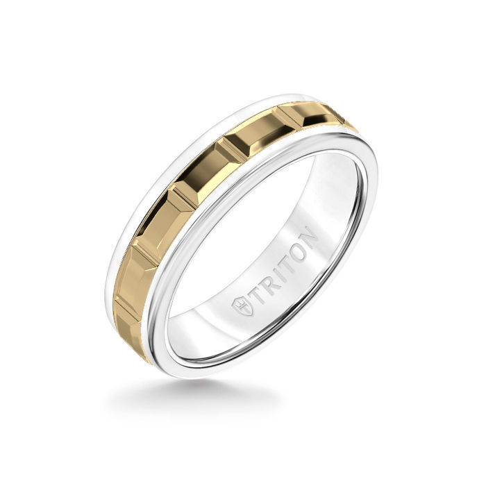 6MM White Tungsten Carbide Ring – Beveled Prism 14K Yellow Gold Insert with Round Edge