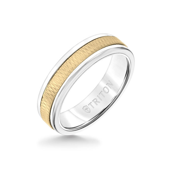 6MM White Tungsten Carbide Ring - Criss Cross 14K Yellow Gold Insert with Round Edge