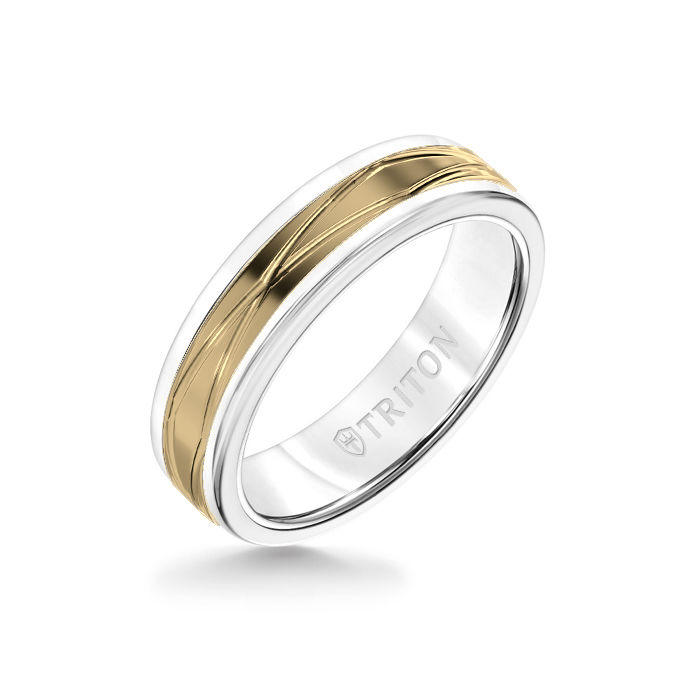 6MM White Tungsten Carbide Ring – Oblong Infinity 14K Yellow Gold Insert with Round Edge