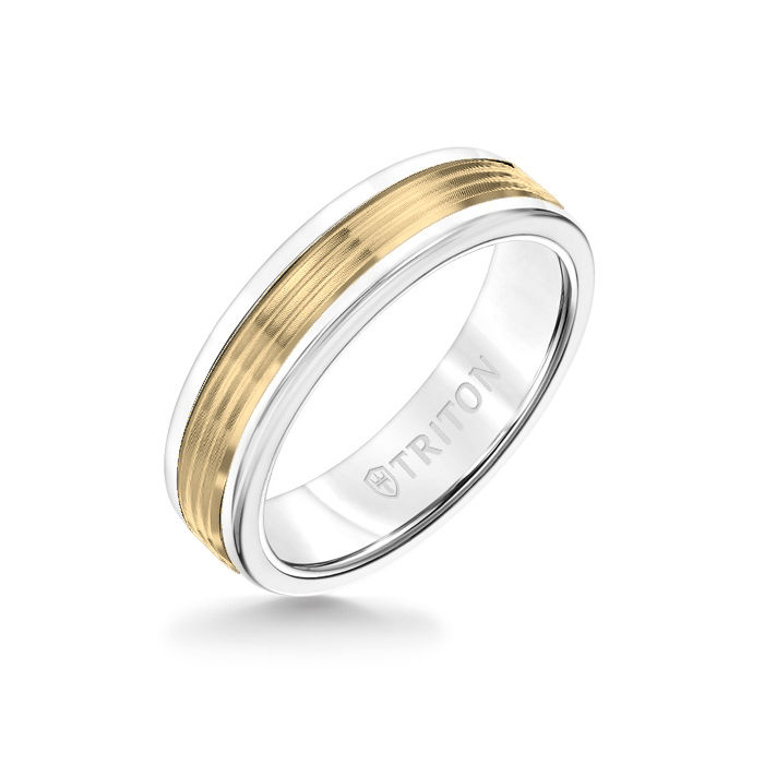 6MM White Tungsten Carbide Ring - Serrated Engraved 14K Yellow Gold Insert with Round Edge