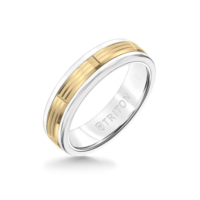 6MM White Tungsten Carbide Ring - Serrated Vertical Cut 14K Yellow Gold Insert with Round Edge